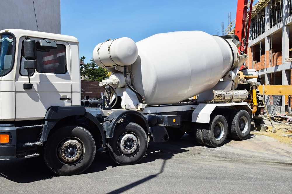 cement mixer truck on site for a new concrete pour